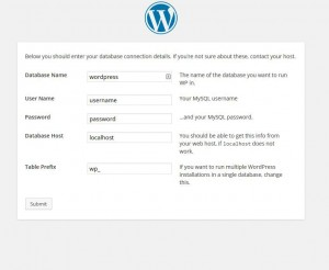 The third screen in the WordPress manual setup process - entering your database specifics.